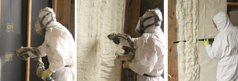 spray foam insulation demo